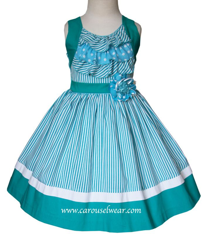 Girls turquoise green summer dress with stripes and ruffles. All girls sizes available up to 10 yrs old.