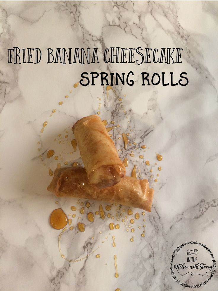 Fried Banana Cheesecake Spring Rolls Recipe. Spring Rolls filled with a creamy cheesecake filling and cinnamon sugar dusted bananas, fried until golden.