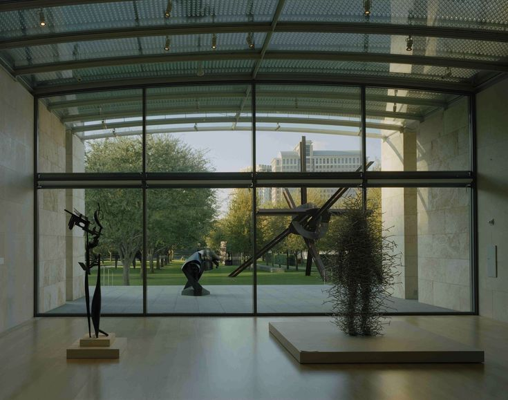 View from the Nasher Sculpture Center gallery building to the garden. Photograph courtesy the Nasher Sculpture Center.