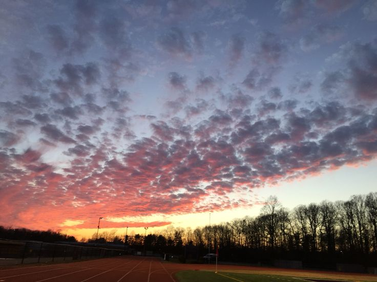 Pretty sunset on an athletic field
