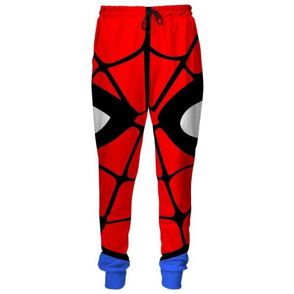 Spiderman Sweatpants ($90) ❤ liked on Polyvore featuring activewear, activewear pants, red sweat pants, red sweatpants, jogger sweat pants, red jogger sweatpants and jogger sweatpants