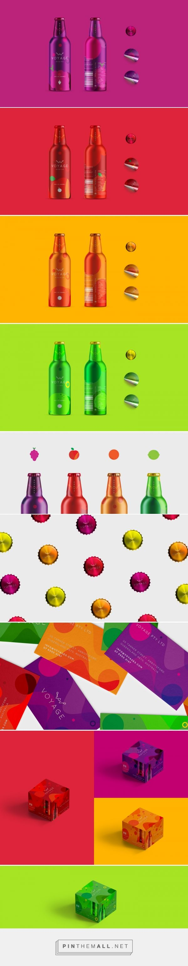 Branding, graphic design and packaging for Voyage on Behance by Anders Chow Brisbane, Australia curated by Packaging Diva PD. Premium sparkling juice product in 4 different flavours.