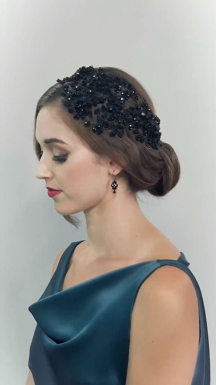 DAHLIA HEADDRESS – hair accessories, hair fashion, hairstyle, wedding hair, crystal eveningwear