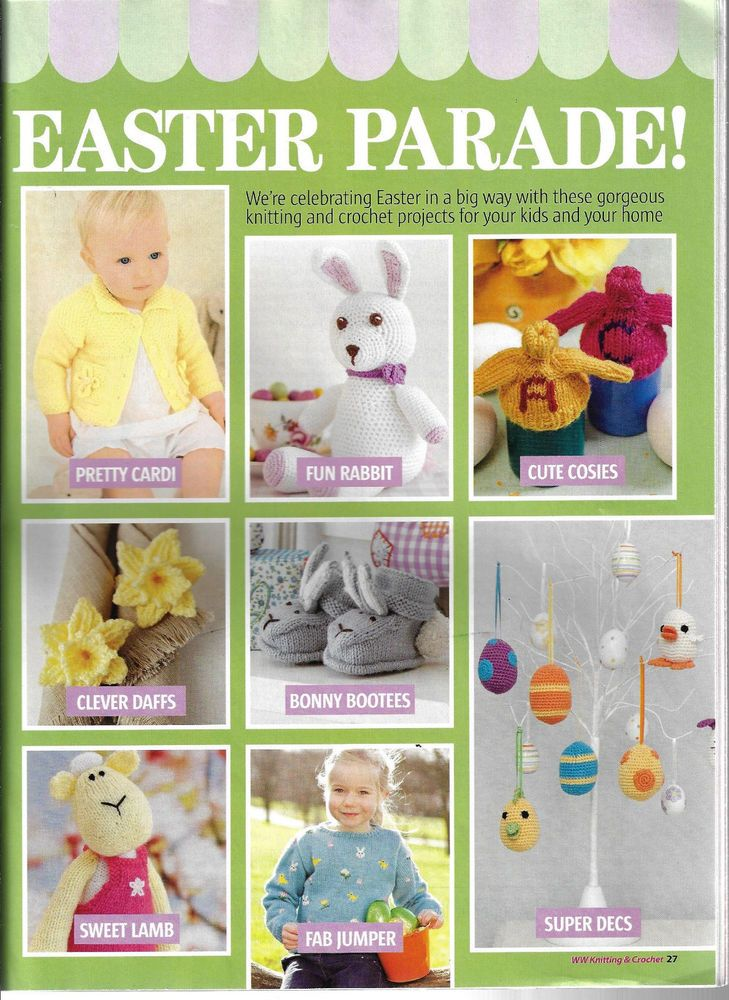 Easter Parade knitting & crochet pattern pullout knitted toy baby booties flower #WomansWeekly