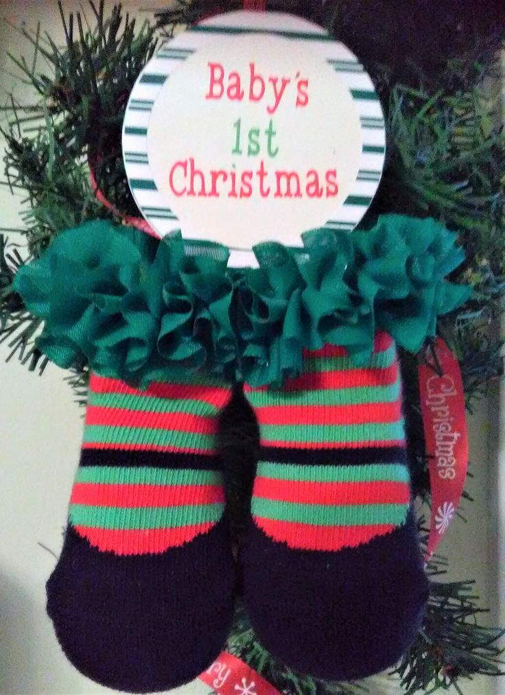 Baby's 1st Christmas Socks, Baby's First Christmas, Baby Christmas Ornament, Baby clothes, Christmas Gifts, Christmas ornaments