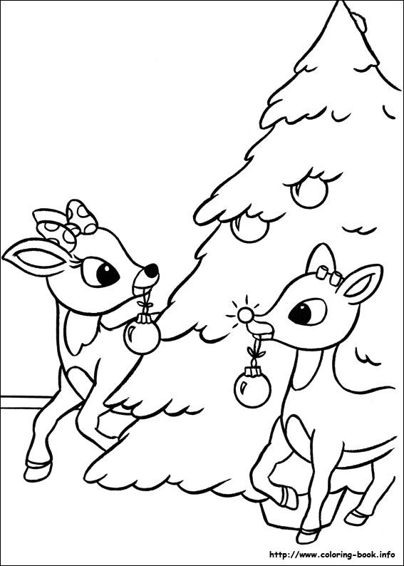 clarice and rudolph coloring pages | rudolph and clarice decorates tree color sheet | Coloring ...