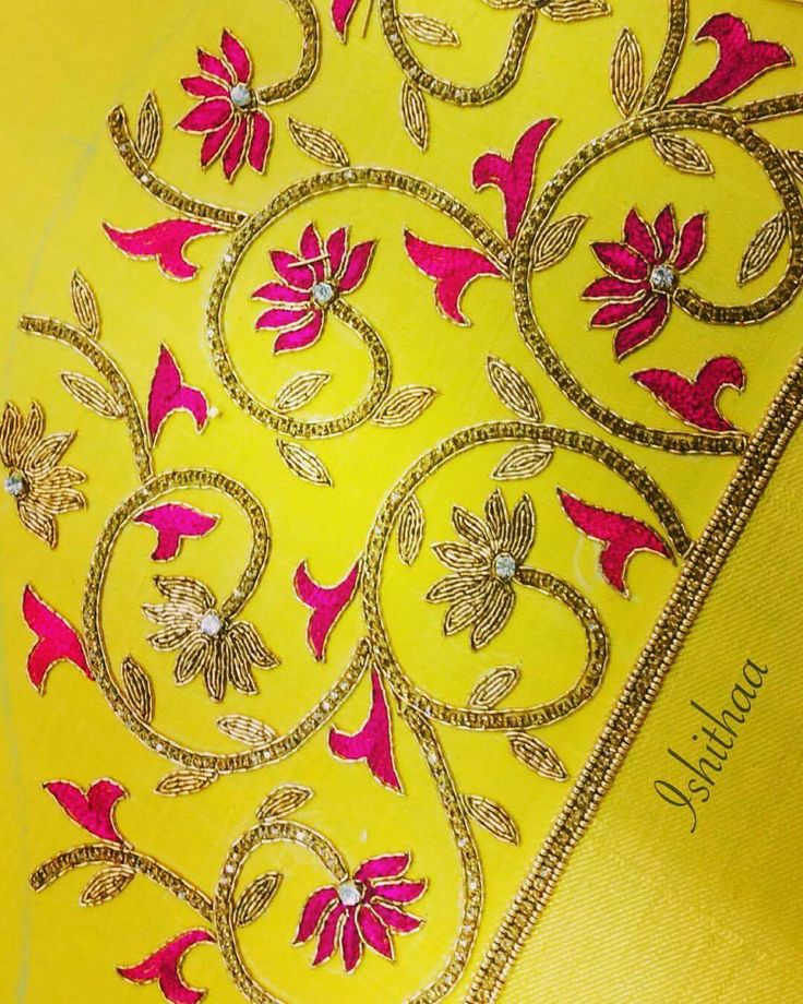Nice floral embroidered Sari pallu... #Embroidery