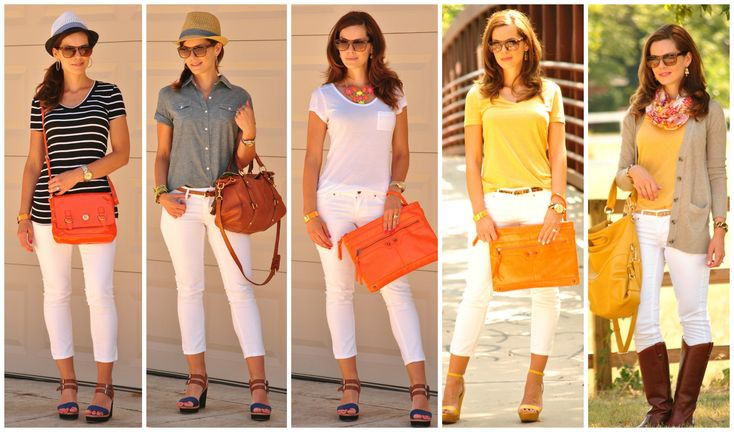 The case for wearing white jeans year-round.  White jeans outfits for summer, spring, fall and winter.    http://getyourprettyon.com/casual-chic-outfit-basics-the-ultimate-white-jeans-guide/