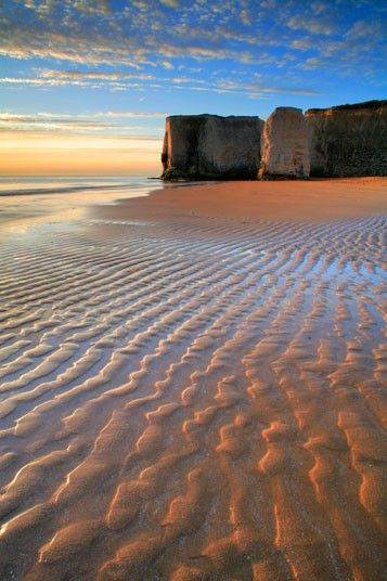 Botany Bay, Kent.  This is the most northerly of Broadstairs's beaches, and perhaps the prettiest – a 660ft curve of sand backed by white cliffs, with chalk stacks, rock pools and safe swimming.