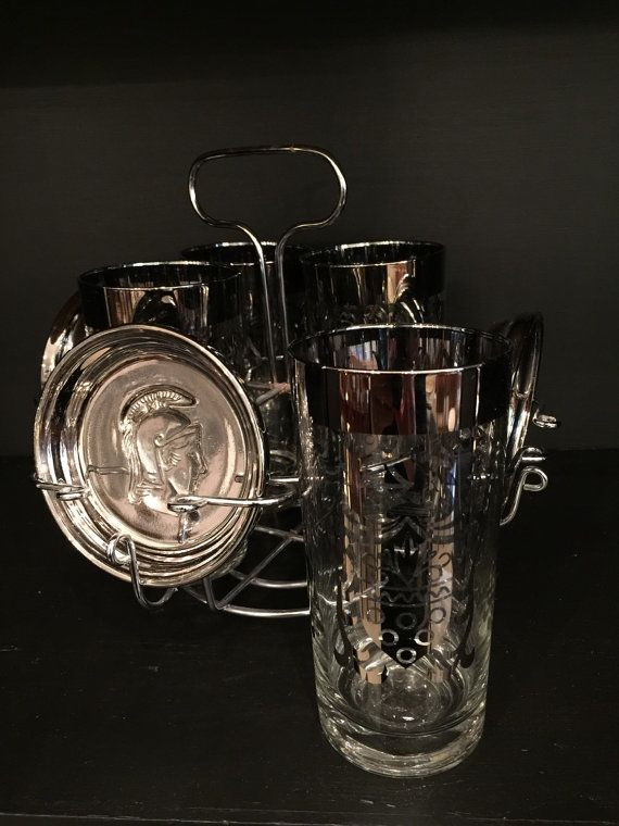 Superb Mid Century Barware / Vintage Tumbler Caddy / Drink Ware / Glass Set With  Caddy / Silver Rim Glasses / Gifts For Him