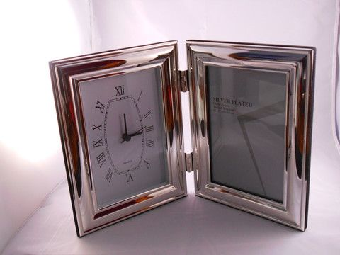 Polished Silver Double Clock/Frame 4 x 6 – Purple Clover Photo Frames and Giftware