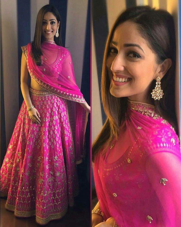 Yami Gautam wearing hot pink lehanga choli bridal by Anita Dongre