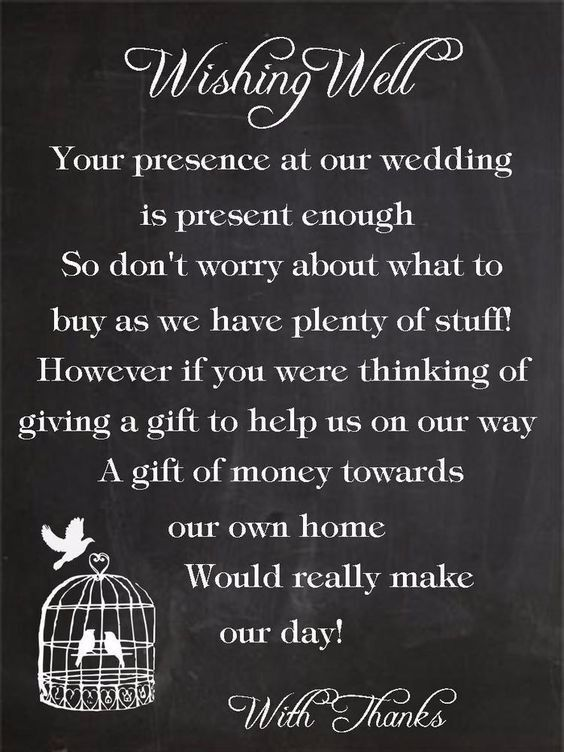 Hi wonderful brides There's been discussions lately about whether you can ask your guests for money instead of gifts... and my answer is yes! But there's a way to ask for it. Which one is your favourite? 1. 2. 3. 4. 5. Which wording would you use for