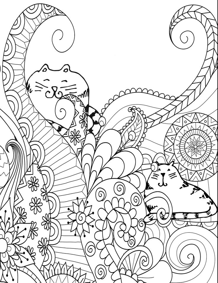 Two Cats - Free Adult Coloring Page