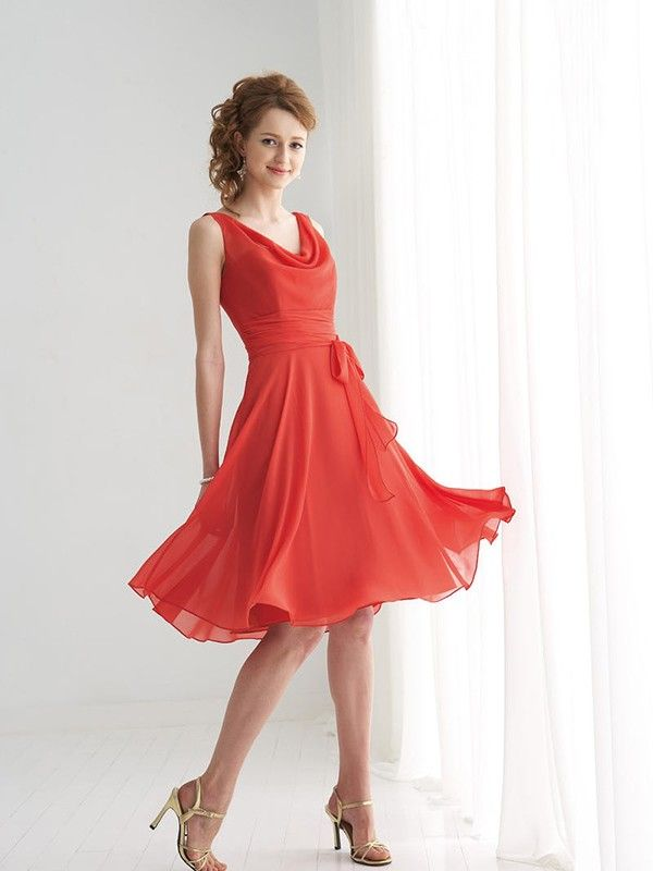 A-line/Princess Scoop Sleeveless Ruffles Knee-length Chiffon Bridesmaid Dress