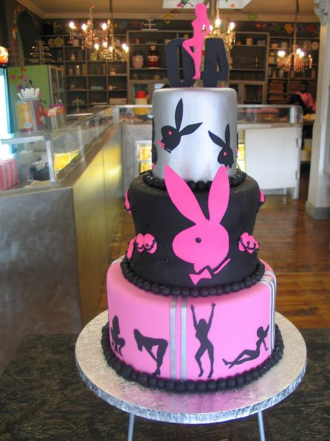 Playboy bunny 3 tiered birthday cake by Charly's Bakery, via Flickr