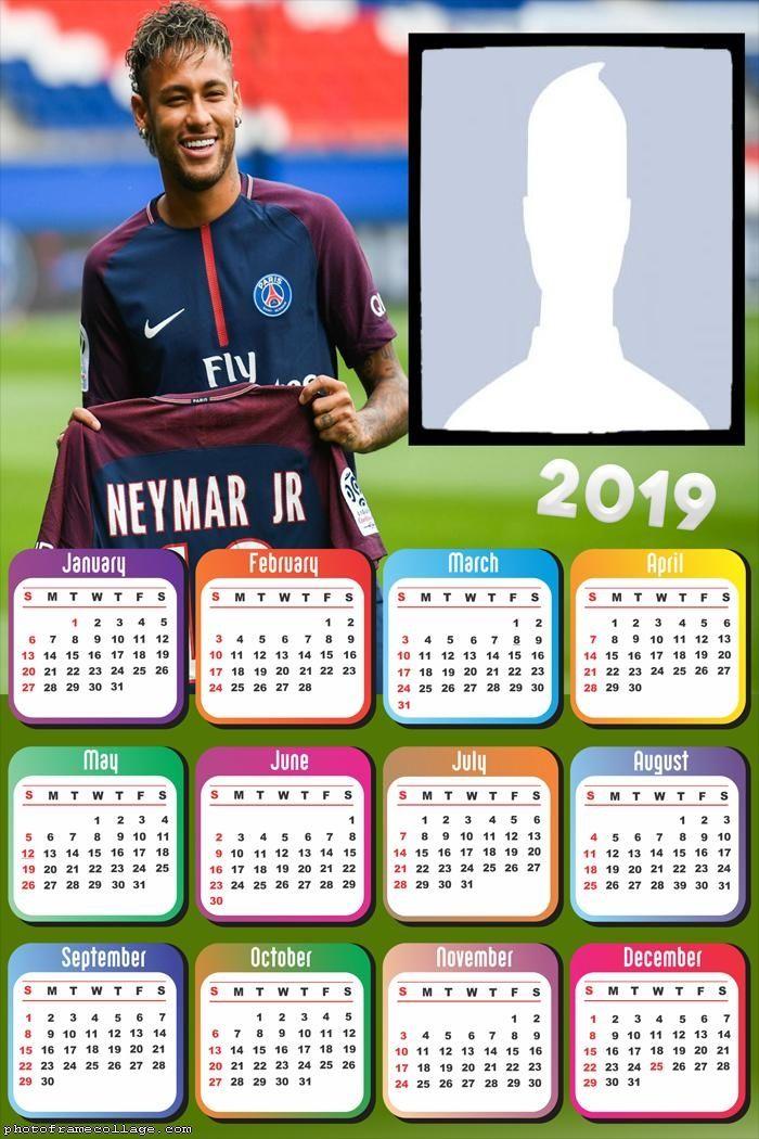 Neymar PSG Calendar 2019 Frame Photo Montage Free Online