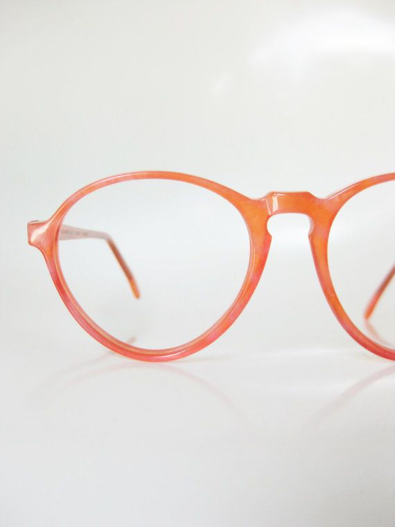 Neon Pink Eyeglasses 1960s Jean Lafont Glasses Peach Bright Colorful 60s Salmon Paris France French Sunglasses Sunnies Round P3 Mid Century