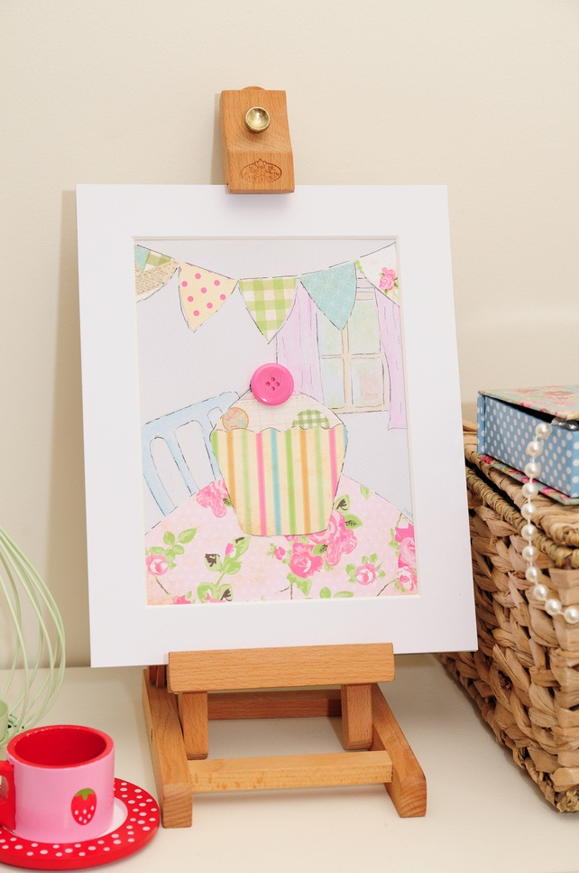 Girls Cupcake Bunting Shabby Chic Original Collage... - Folksy