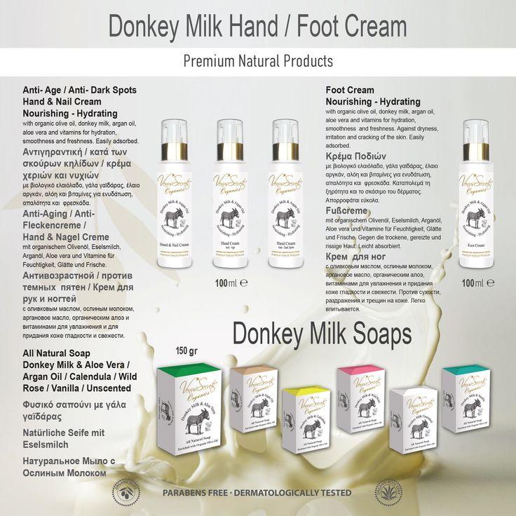 Donkey Milk Hand - Foot Cream 100ml / Donkey Milk Soaps 150gr