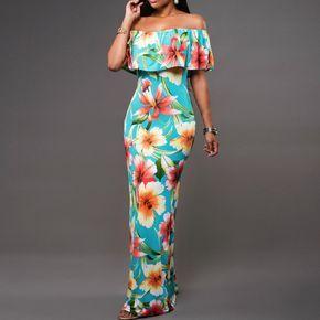 2016 Boho de La Moda Sexy Bodycon Vestidos Largos de Verano Fuera Del Hombro de La Flor Sin Tirantes Imprimir Backless Elegante Del Partido Del Vestido Maxi
