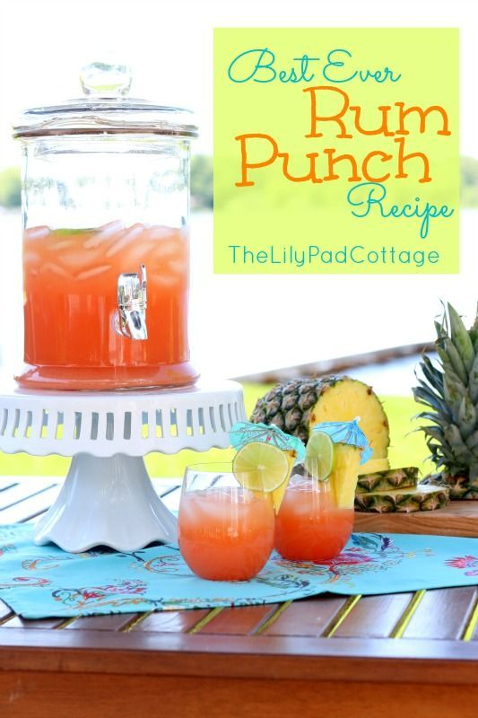 LilyPad Cottage Rum Punch - Sweet C's   Designs 3 C Orange Juice 3 C Pineapple Juice 3 C ginger ale 3 C rum 1/4   grenadine juice of 1 lime limes, pineapples, and fun umbrellas for garnish   (optional but way fun!) Instructions  Mix all ingredients in a large pitcher add   ice and enjoy!