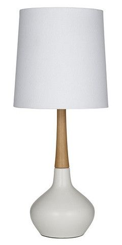 Timber and Ceramic Small Table Lamp White