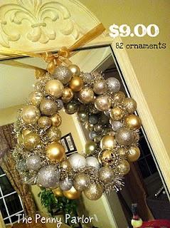 The Penny Parlor: Christmas Wreaths, Dollar Stores Christmas, Dollar Store Christmas, Wire Hangers, Christmas Ball, Ball Wreaths, Pennies Parlor, Ornaments Wreaths, Diy Christmas