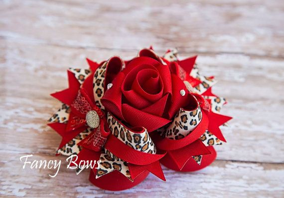 Wild Fancy Rose Stacked boutique bow. Leopard. Red. por fancybows, $15.00