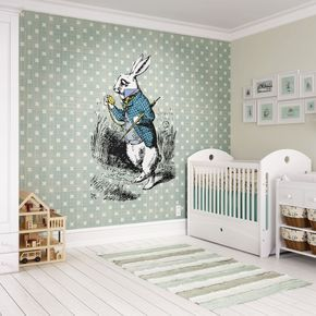 White Rabbit Wall Mural, , large