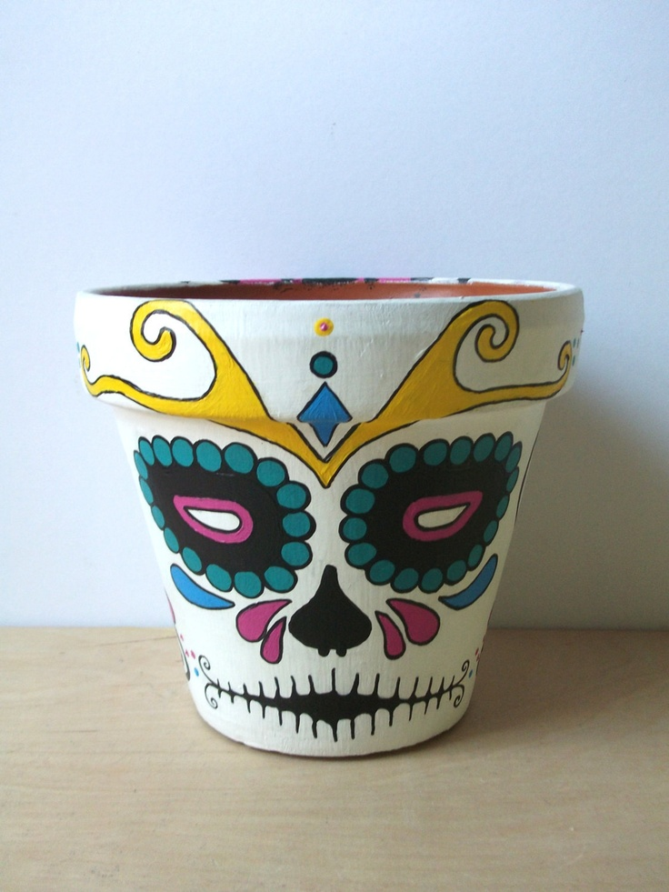 Day of the Dead sugar skull Flower Pot Halloween Dia de los Muertos outdoor halloween decor Made to Order. $28.00, via Etsy.