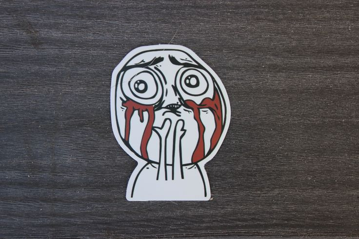 Crying Meme Face - printed Sticker