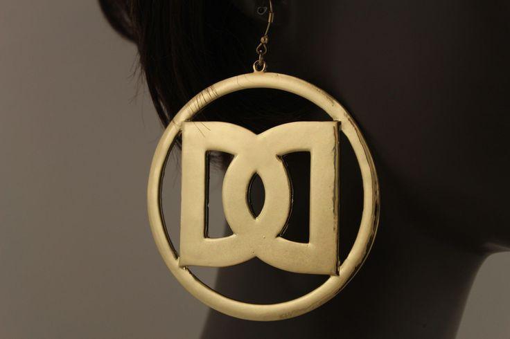 Yellow Gold Metal Big D Hip Hop Hook Big Hoop Earrings Womens Trendy Fashion Jewelry Accessories