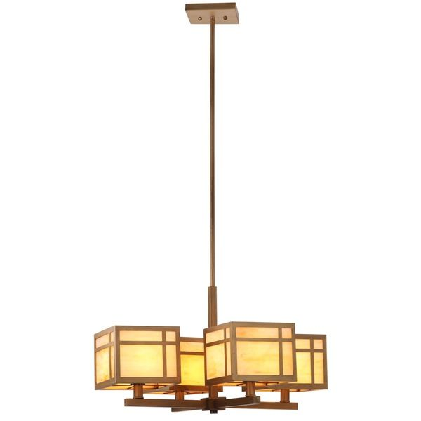 An elegant interpretation of Arts & Crafts style, the Craftsman chandelier features shades with glass in a mix of amber and white edged in antique gold-finished steel. The warm-toned metal extends throughout the clean-lined body of this classic fixture.