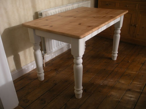SMALL SOLID PINE SHABBY CHIC KITCHEN/DINING TABLE PAINTED SOFT WHITE | eBay