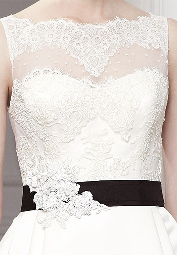Beautiful lace over strapless dress. Odina by Modeca.