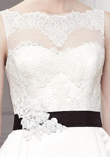 Beautiful lace over strapless dress. Odina by Modeca.