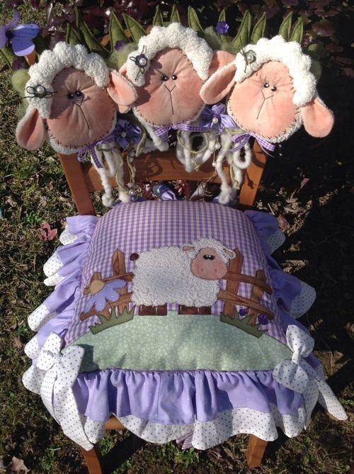 Kit cucito creativo - pecore e conigli : Kit seduta e spalliera pecore