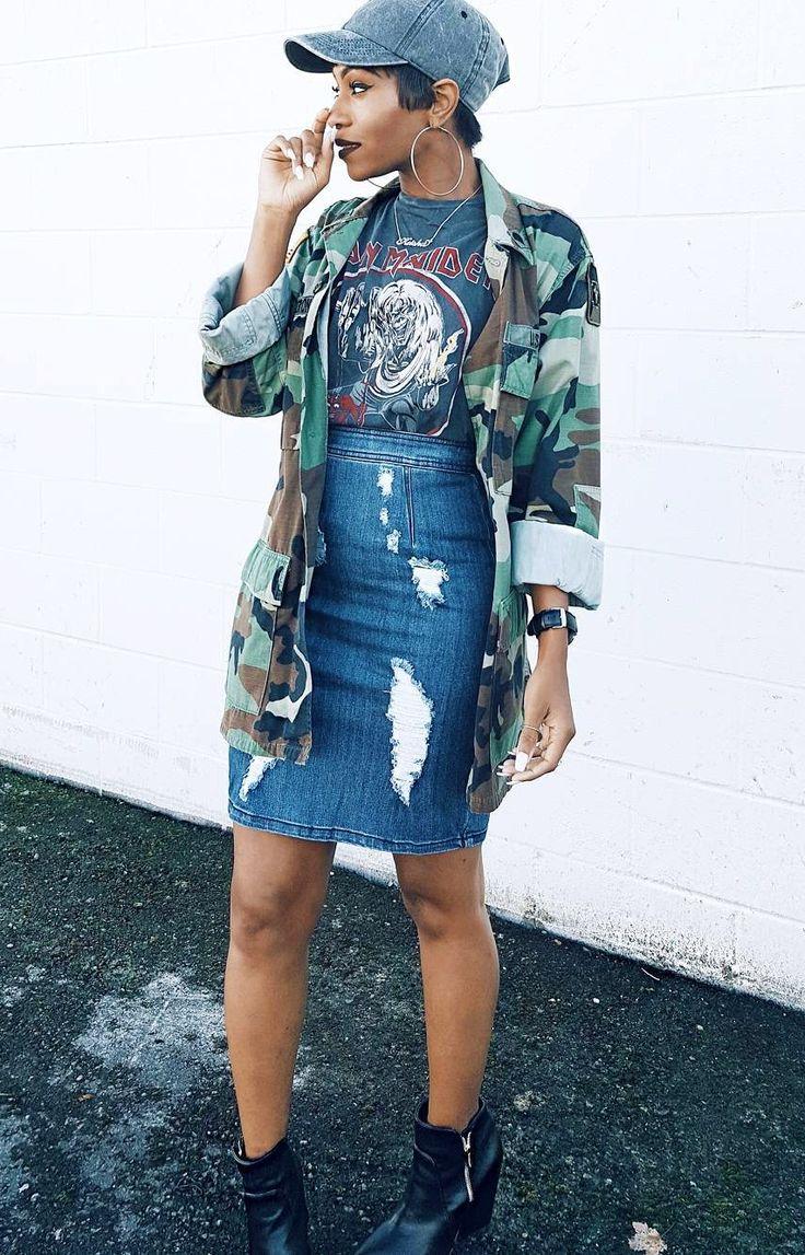 "ecstasymodels: "" Fatique  Hat & tee: @hm , Military jacket: hubby's , Skirt: @louisandlaine use discount code: Keke , Booties: @bcbgmaxazria Fashion Look by Keke Cameron """