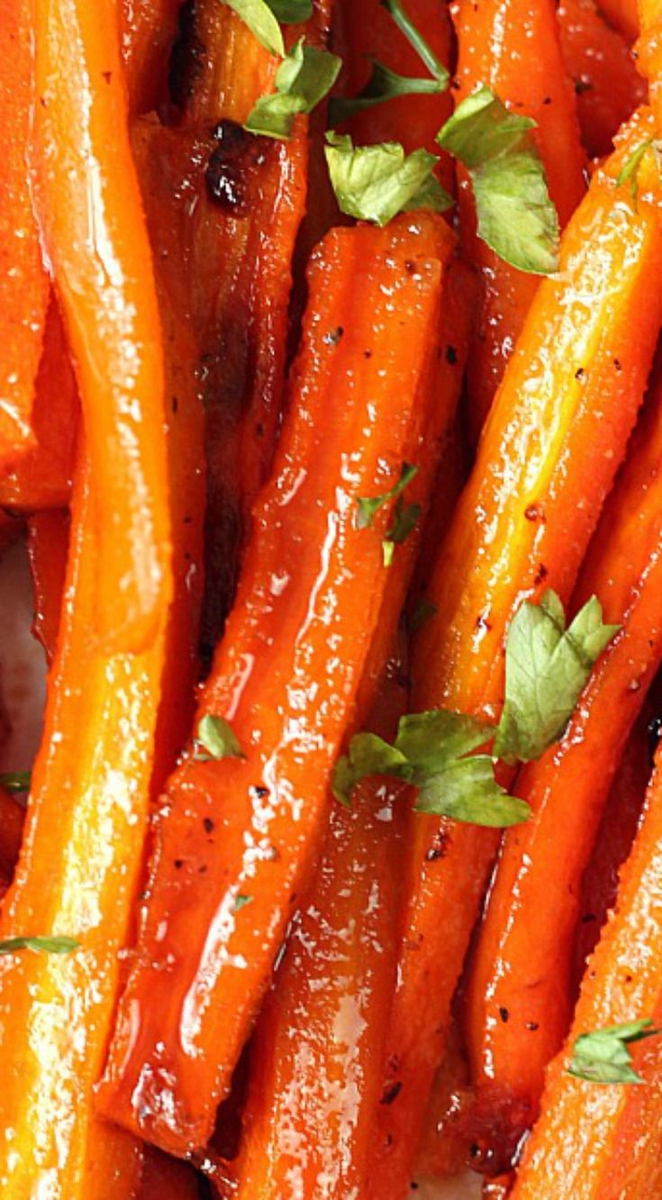Brown Sugar Roasted Carrots ~ Sweet and garlicky carrots roasted to perfection... The easiest and most delicious way to enjoy this vegetable!