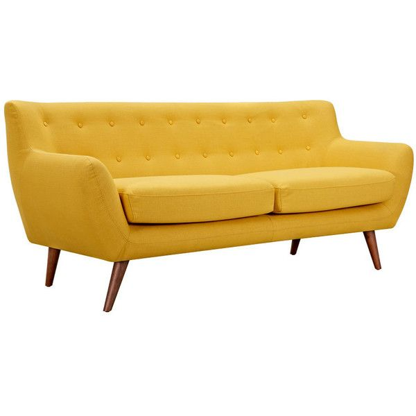 Dot & Bo Olson Sofa in Yellow (€755) ❤ liked on Polyvore featuring home, furniture, sofas, home decor, yellow sofa and yellow furniture