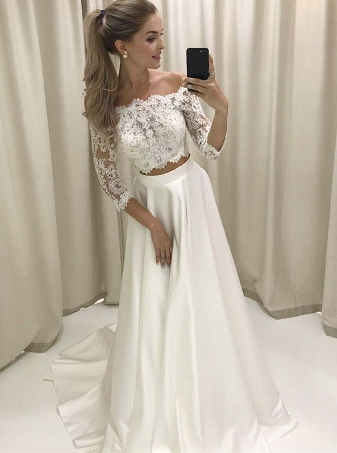 22205035681 Best Two Piece Off-the-Shoulder 3 4 Sleeves Satin Wedding Dress with Lace  in Main Website Two Piece Off-the-Shoulder 3 4 Sleeves Satin Wedding Dress  with ...