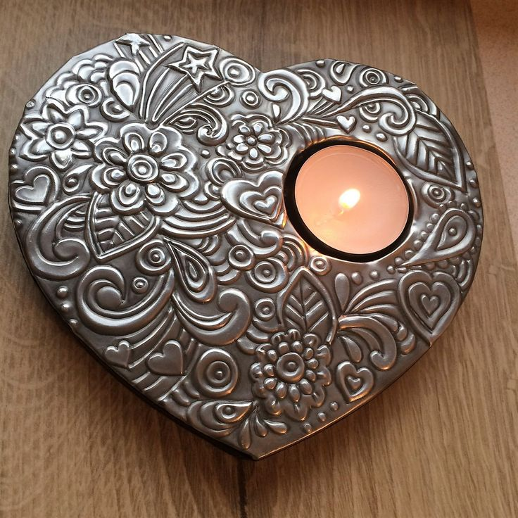 Pewter of wooden tealight holder Created by Sue at BB Handcrafted