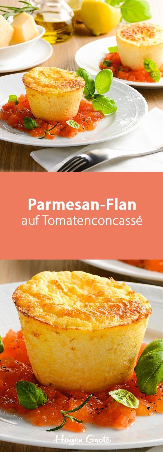 Parmesan-Flan auf Tomatenconcassé