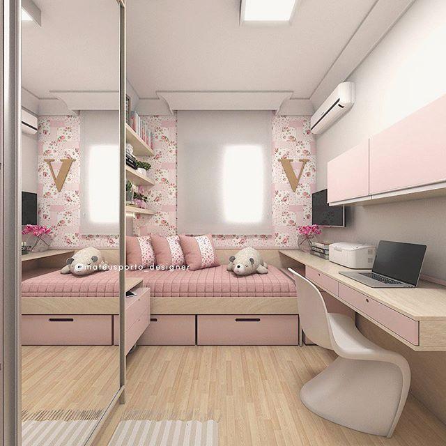 Teen Girl Bedroom 💕 composição rosa bonita com bege ð