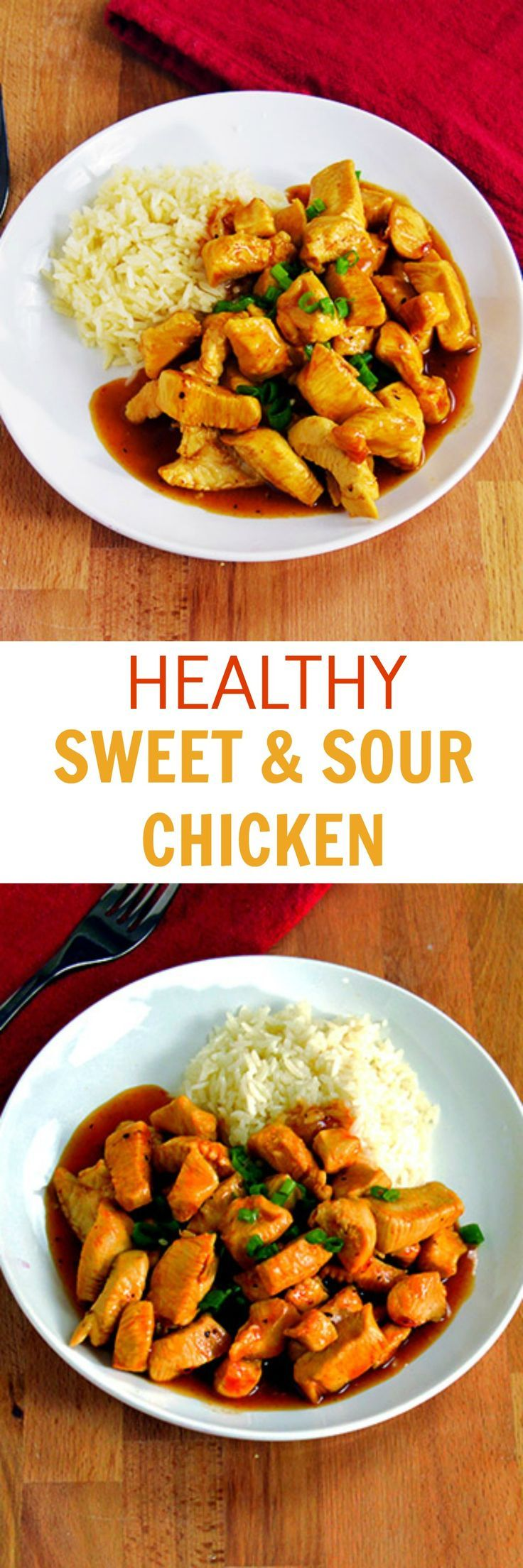 Healthy Sweet & Sour Chicken recipe made with ingredients you likely have already! This is a quick, healthy dinner option that the whole family can enjoy!