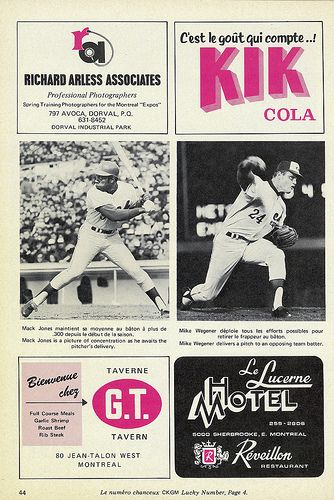 montreal expos game programs 1970's   1969 Montreal Expos program - one of the photos on this page shows the ...  (You'll get a Kik out of this, Carolyn!)