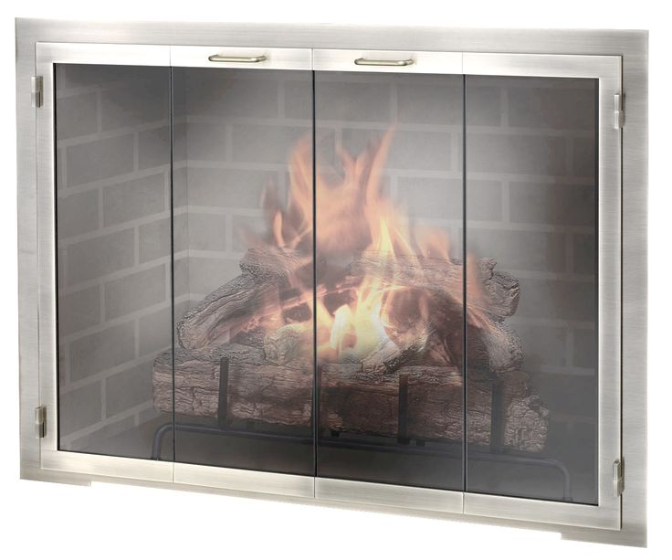 Stainless Steel Fireplace Door