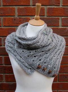 Free Knitting Pattern For Eyelet Cowl : Rib Lace Scarf/Cowl Eyelet pattern knitting, with buttons added. Free pattern...