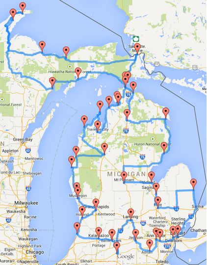 When you have about 40 hours to kill, we dare you to try this out. Michigan road trip!